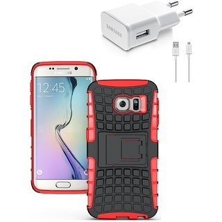 YGS Tough Rugged Dual Layer Back Case with Kickstand for Samsung Galaxy S7 Edge-Red With USB Data Cable and Wall Charger