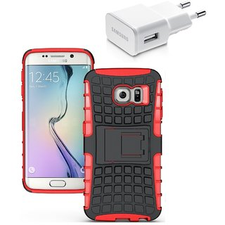 YGS Tough Rugged Dual Layer Back Case with Kickstand for Samsung Galaxy S7 Edge-Red With USB Wall Charger