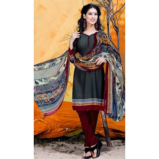 Fabliva Grey  Maroon Printed Crepe Dress Material