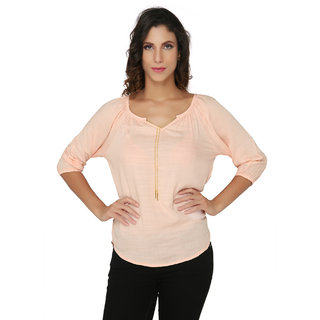 Light Pink Solid Blouse with Attached Chain