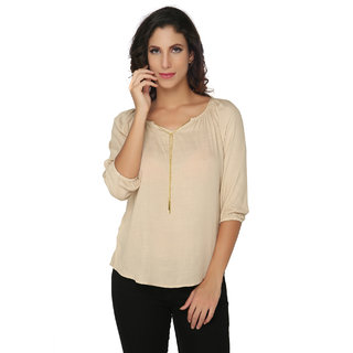 Khaki Solid Blouse with Attached Chain