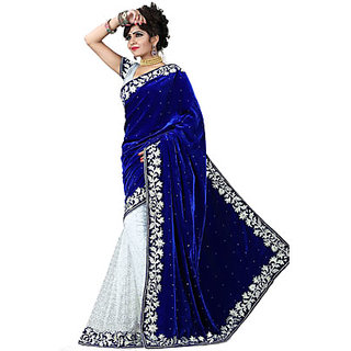 Om Fashion Blue Velvet Embroidered Saree With Blouse