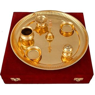 Pooja  Thali Set(7 Pieces, Gold)