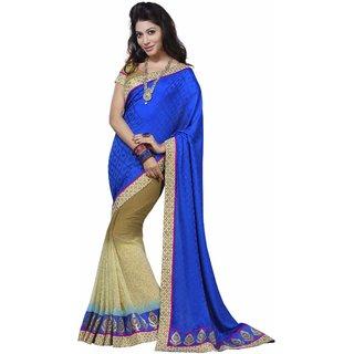 Manvaa Redolent Blue  Beige Georgette Designer SareeIW2ICN40204