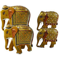 RAJASTHANI ART DECORATED  ELEPHANT FAMILY-TWO BIG ELEPHANT  TWO SMALL ELEPHANT - COMB101