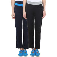 Vimal Black  Navy Blue Cotton Blend Trackpant For Women ( Pack Of 2) (F2NAVY-F3BLACK-02)
