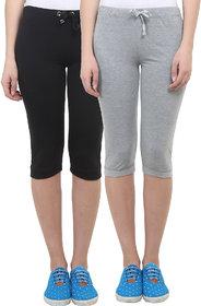Vimal-Jonney Black  Grey Melange Cotton Blend Trackpant For Women ( Pack Of 2) (F1BLACK-F1MELANGE-02)