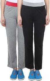 Vimal-Jonney Black  Grey Melange Cotton Blend Trackpant For Women ( Pack Of 2) (F3MELANGE-F3BLACK-02)