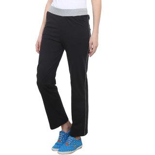 Vimal-Jonney Black Cotton Blend Trackpant For Women (F3BLACK01)