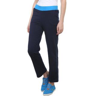 Vimal-Jonney Navy Blue Cotton Blend Trackpant For Women (F3NAVY01)