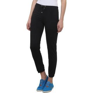 Vimal-Jonney Black Cotton Blend Trackpant For Women (F4BLACK01)