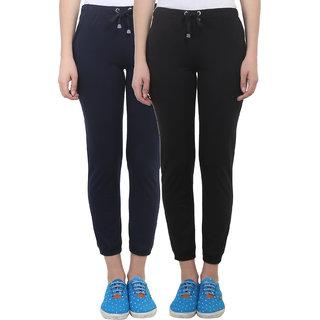 Vimal Black  Navy Blue Cotton Blend Trackpant For Women ( Pack Of 2) (F4BLACK-F4NAVY-02)