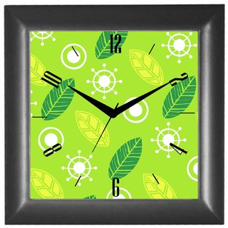 Cartoonpur Analog Square 10 Inch Leaves Wall Clock With Glass(CPSB11312)