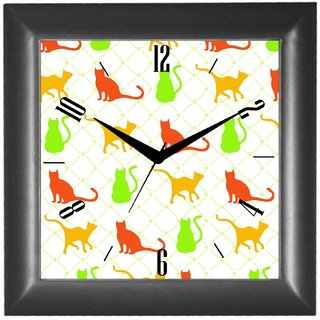 Cartoonpur Analog Square 10 Inch Colourful Cats Wall Clock With Glass(CPSB11323)