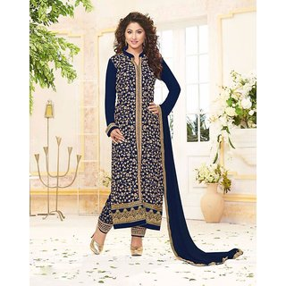 RapidDukan Un-Stitched Navy Blue Color Straight Salwar Suit Dupatta Material SF575