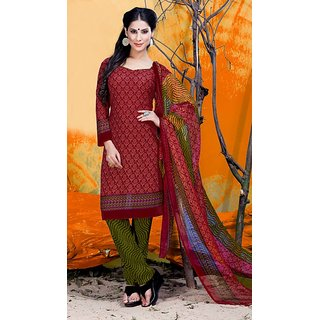 Fabliva Red  Green Printed Crepe Dress Material