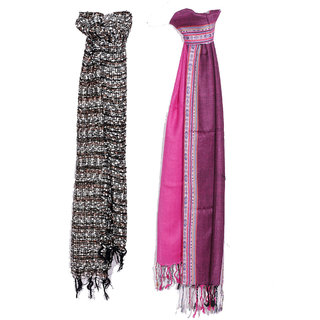 IndiWeaves Women Soft Luxurious Viscose Stole for All Seasons- Set of 2-8028380313-IW-ST