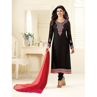 RapidDukan un-Stitched Black Color Straight Salwar Suit Dupatta Material SF578