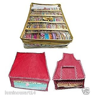Atorakushon Combo Gold Satin 5 Rods Bangle box Jewellery Box Saree Blouse cover