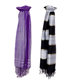 IndiWeaves Women Soft Luxurious Viscose Stole for All Seasons- Set of 2-8027080322-IW-ST