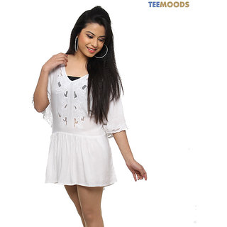 Teemoods Classy White Long Top