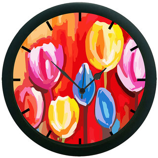 AE World Flowers Wall Clock (With Glass)