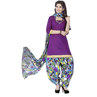 Minu Suits Cotton Unstiched Dress Material New Purple