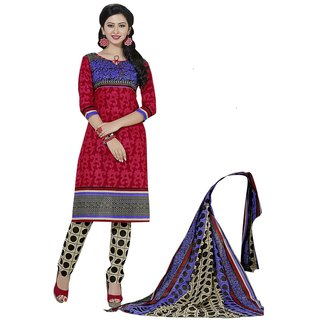 Minu Suits Cotton Unstiched Dress Material New Red
