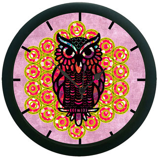 AE World Ethnic Owl Purple Wall Clock (With Glass)