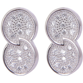 Abhooshan Pair of stylish cubic zircon stud in 925 silver