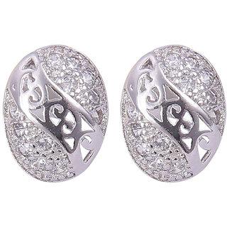 Abhooshan pair of Oval Shape trendy Cubic Zircon Studs in 925 Silver