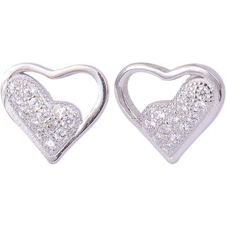 Abhooshan pair of Unique Heart Shape Cubic Zircon Studs in 925 Silver