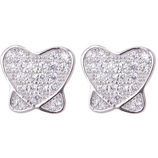 Abhooshan unique pair of Heart Shape Cubic Zircon Studs in 925 Silver