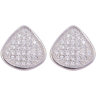 Abhooshan unique pair of Triangle Shape Cubic Zircon Studs in 925 Silver