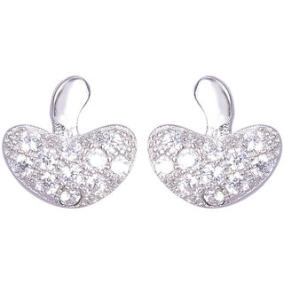 Abhooshan pair of cute and small heart shape Cz Studs in 925 Silver