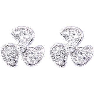Abhooshan Elegant flower shape Cubic zircon Stud in 925 silver