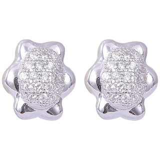 Abhooshan trendy and chic looking pair of Cz studs in 925 silver