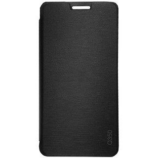 new concept 57f9c 05f93 TBZ Flip Cover Case for Micromax Canvas Spark 2 Plus Q350 -Black