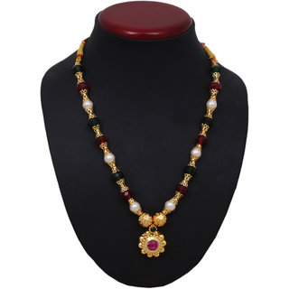 Sushito Traditional Round Pandal Unique Haar Necklace JSMJWNL0289