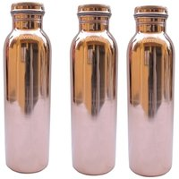 Copper Water Bottles (Set of 3 )with 99.5 Purity- 1050ML.Handmade,Joint Free  Leak Proof for Ayurvedic Health Benefits