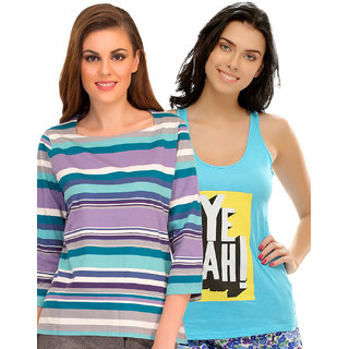Clovia Multicolor Cotton Graphic Print T-Shirt (Set Of 2) (COMBOLT07)