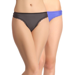 Clovia Multicolor Solid Thongs (Set Of 2) (COMBOPN52)