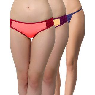 Clovia Multicolor Solid Bikini (Set Of 3) (COMBOPN53)