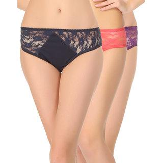 Clovia Multicolor Self Design Bikini (Set Of 3) (COMBOPN55)