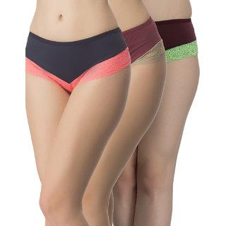 Clovia Multicolor Solid Panty (Set Of 3) (COMBOPN65)