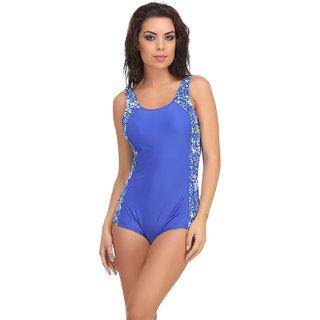 Clovia Blue Polyamide Spandex Solid Swimsuit (SM0041P08)