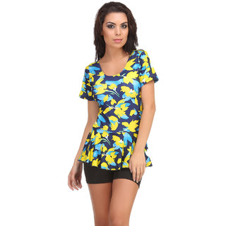 Clovia Yellow Polyamide Spandex Floral Swimsuit (SM0047P02)