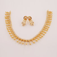 Aathrai Gold Plated Australian Diamond Stone Choker Necklace With Drop Earring