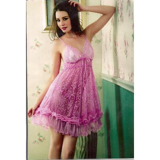 Sexy 2p Babydoll & Panty Sheer Night Fun Set Pink Bedroom Climax Sleep Set Women