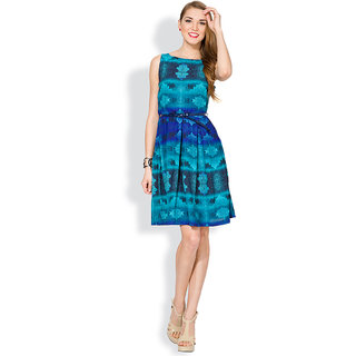 Folklore Blue Printed A Line Dress For Women